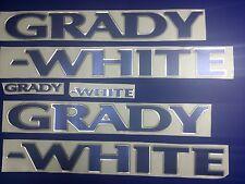 "Grady-White boat Emblem 40"" CHROME BLUE Epoxy Stickers Resistant to mech shock"