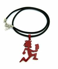 "16"" + Extension Black Cord Necklace Stainless Steel Red Hatchet Man & 2mm"