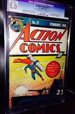 Action Comics #21 (1940) CGC 5.0 (OWW) Conserved More Fun #52 ad