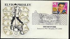 2721 Elvis Presley FDC LEB Cachet Fancy memphis Music Cancel 1993 Unadd LOT 801