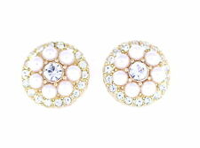 Lovely gold and white pearl and crystal flower stud earrings