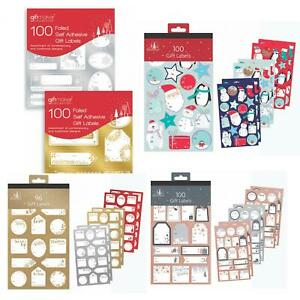 100 PACK SELF ADHESIVE CHRISTMAS PRESENT GIFT LABELS GOLD SILVER ROSE GOLD