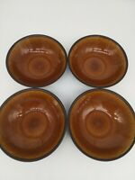 Pier 1 One Imports Handpainted Chocolate Brown Stoneware Bowl Set of 4
