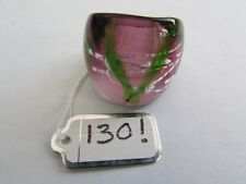 Style Glass Ring. Uk.Q.Us.8. (130!) A Purple & Silver/Green Lined Murano