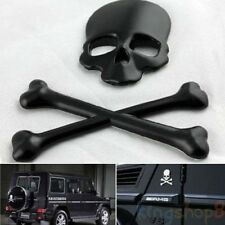 2in1 3D Alloy Metal Skull & Bone Sticker Decal Devil Pirate Badge For Car Truck
