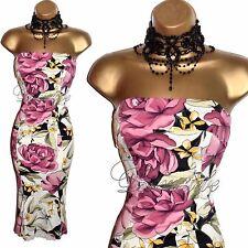 KAREN MILLEN Exquisite IVORY & Pink ROSE Corset WIGGLE Cocktail DRESS UK 10