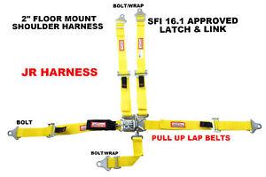 QUARTER MIDGET SFI 16.1 RACE HARNESS FLOOR MOUNT LATCH & LINK BELT YELLOW 5 PT