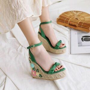 Womens Sandals High Wedge Heels Ankle Strap Platform Linen Retro Roman Shoe US12