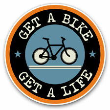 2 x Vinyl Stickers 20cm - Get A Bike Mountainbike Biker Cycle Cool Gift #5103