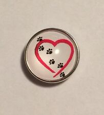 HEART WITH PAWS SNAP BUTTON JEWELRY,GINGERSNAPS,BUTTON CHARMS 20MM CHUNK V16