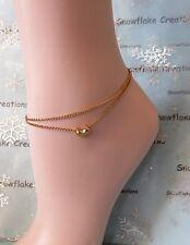 Ankle Chain Bracelet Rose Gold Plate Anklet FLOATING HEART Charm 22cm + 3cm A017
