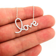 Sterling silver 925 Love Necklace Love Word CZ Pendant Necklace N20