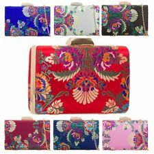 New Embroidered Satin Hard Compact Party Evening Clutch Bag Handbag