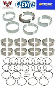 Buick 455 1970 - 1976 Clevite Rod And Main Bearing With Hastings Piston Rings
