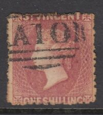 ST.VINCENT QV 1873 One Shilling Lilac-Rose Wmk Star Rough Perf - good used