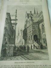 Halberstadt  L'hotel de Ville 1864 Gravure Print Article