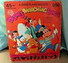 "Vintage Disneyland Record~""Disney Marching Songs""~45 Rpm Record~Jacket & Adapter"