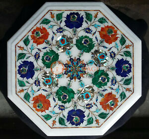 Marble White Coffee Custom Top Table Multi Stone Marquetry Floral Design Decor