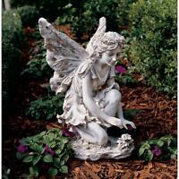 "Fiona The Flower Fairy 17"" Design Toscano Sculpture Faux Antique Stone Finish"
