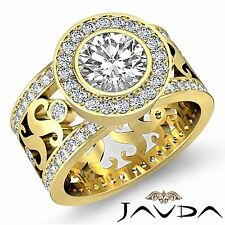 Halo Pave Round Diamond Engagement Designer Ring GIA F VS1 18k Yellow Gold 2.8ct