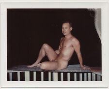 NUDE SUBURBAN MAN POSING on BALCONY vtg 60's POLAROID MALE photo GAY INT