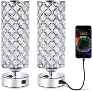 """USB Crystal Table Lamp, 12"""" Silver Lamp Sets, Desk Lamp Two Pack Crystal Lamp"""