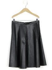 Whistles Womens Black Faux Leather Full Skirt Size 12