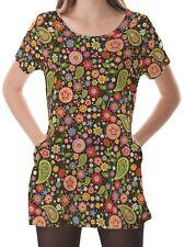 Paisley Women Scoop Neckline Pockets Top Shirt Blouse b16 acr00588