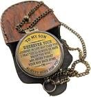 To My Son Quote Gift For Son Engraved Brass Compass with Leather Case