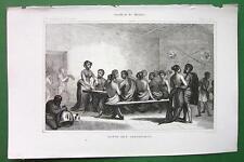 Africa Abyssinian Natives Having Dinner - 18 00004000 43 Antique Print Engraving