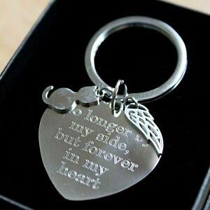 Personalised Pet Cat Loss Memorial Keyring FREE Engraving Angel Wing Remembrance