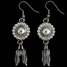 Silver Concho Feather Earrings Navajo French Hooks