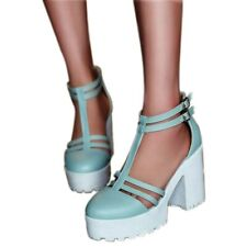 T-strap Sandals Women's Platform High Heels Round Toe Ankle Buckle Casual Shoes