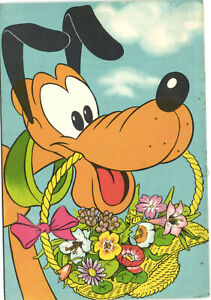 PC DISNEY, PLUTO WITH A  BASKET OF FLOWERS, Vintage Postcard (b27722)