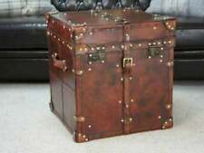 Finest English Occasional Side Table Trunk In Aged Tan Bridle Leather Trunk