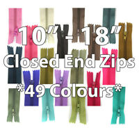 "No.3 CLOSED END NYLON ZIPS 10"" 12 14"" 16 18"" +49 COLOURS+ ZIPPER SEWING CUSHION"