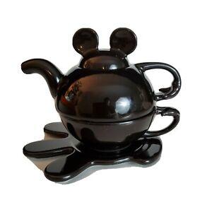 Disney - MICKEY MOUSE - Tea For One - black Teapot Cup Plate Mug Set - Thailand