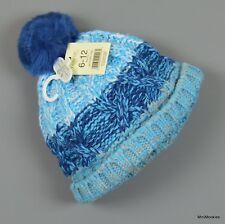 New 6-12 Mth Baby Boy GEORGE Winter Warm Fleece Lined Chunky Knitted Pom Pom Hat
