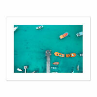 Aerial View Boat Dock Canvas Wall Art Print