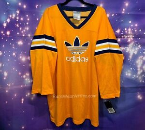 Vtg Rare Adidas Logo Hockey Jersey Nwt Yellow 2x
