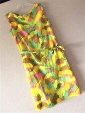 VTG McMULLEN MOD SHIFT DRESS Hippie 60's 70's NEON FLORAL Ruffle LORD TAYLOR M L