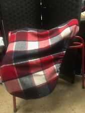 Luxury Saddle cover red and navy pattern wool fabric