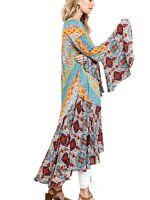 UMGEE Mint Kimono  Duster Open Front Boho Print Bell Sleeve Long Maxi Jacket