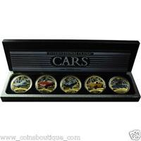 Mercedes-Benz,Lamborghini, Corvette, Jaguar,Datsun 5 x 1oz Silver Coins Set RARE