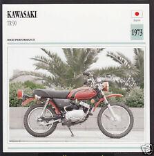 1973 Kawasaki TR 90cc (89cc) Japan Trail Bike Motorcycle Photo Spec Info Card