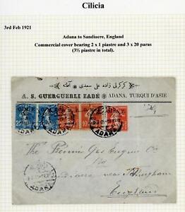 French Colonies Cilicia 1921 RARE Cover Adana to Sandiacre, England