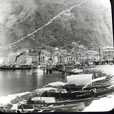 Vtg Keystone Magic Lantern Slide Photo Lake Como Village Italy Harbor Steamer