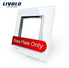 1 Fach Glasrahmen Weiß für Livolo Einsätze Steckdose Lichtschalter USB LAN SAT