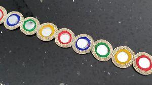 Embroidered Multi Edging Mirror Lace Trim Ribbon Costume Sari Border Sew Craft