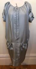 NICHOLSON Designer Dove Grey Silk Blouson Tie Belt Button Short Sleeve Dress 12